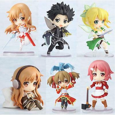 6pcs Sword Art Online Painted PVC Action Figure Anime Figurine Model