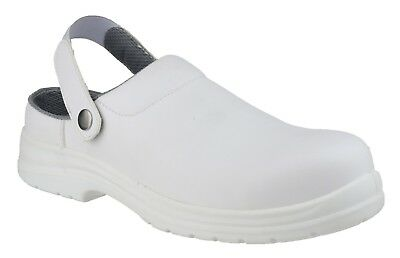 Amblers Safety Mens Machine Washable White Hygiene Safety Clog Multi Size FS512
