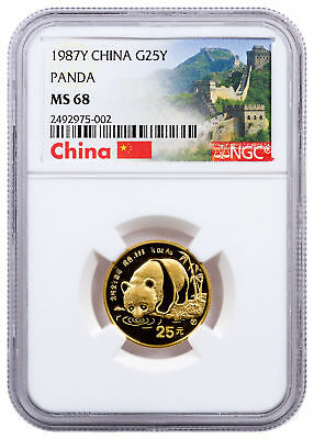 1987-Y China 1/4 oz Gold Panda ¥25 Coin NGC MS68 Great Wall Label SKU27638