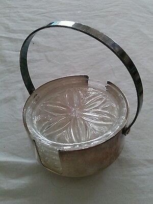 Set of 6 Vintage West German Lead Crystal Coasters in a Silver Plated Caddy