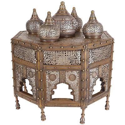 Large Islamic Silver Inlaid Domed Incense Burner with Arabic Calligraphy Moorish