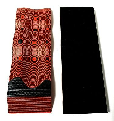 """2 BLACK / RED LAYERED .250"""" G-10  KNIFE HANDLE MATERIAL SCALES 6"""" x 2"""" G10"""