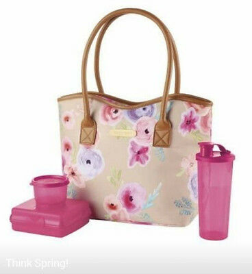 Tupperware Art of Spring Lunch Set insulated bag on the go NEW Fuschia