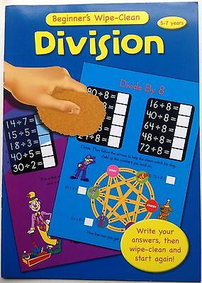 Wipe Clean DIVISION Beginners Maths Book Kids/Children Early Age Learning Book