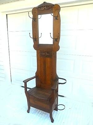 Antique Oak Hall Tree w/Original Hooks and Umbrella Holder  DELIVERY AVAILABLE