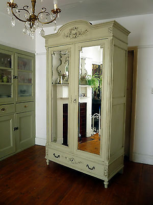 Large Painted Double Mirror Door French Armoire Wardrobe Cupboard