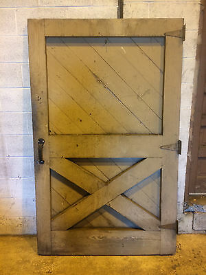 Vintage Farmhouse Barn Door Old Wood Thick Large Sliding Green Heavy Salvaged