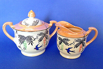 Sugar And Creamer Hand Painted Deco Designs And Bluebirds - Large Size -  Japan