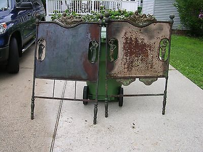 Vintage & Ornate  Metal Baby  Bed Headboard & Footboard   Victorian ?
