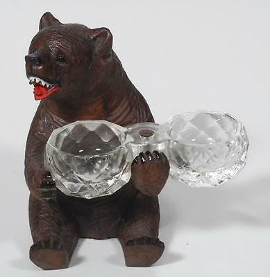 c.1930 Swiss Black Forest Sitting Bear w/ Double Open Salt - Brienz