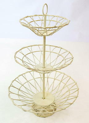 Vintage Distressed Shabby White Painted Cast Iron Chic 3 Tier Wire Basket  Decor