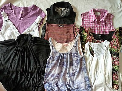 Lot of 9 Women's Tanks and Shirts  Size Small Purple Black Pink Casual Nightout
