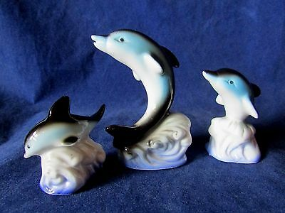 Lot Of Miniature Ceramic Animals - Dolphin Family On a Wave. Set Of 3