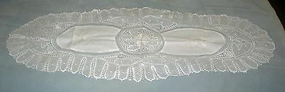 "Antique Crocheted Lace 42"" x 17"" Dresser Scarf or Table Runner"