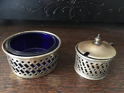 Antique Silver Plated Salt Pot And Mustard Pot