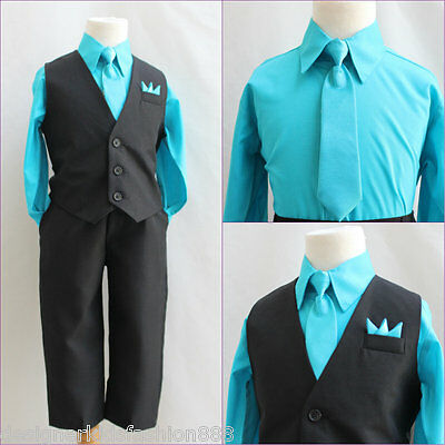 Solid Black turquoise blue boy 4 pc set vest and tie wedding party formal suit