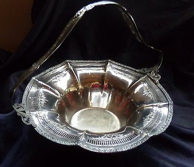 VINTAGE Antique SHEFFIELD Silver Plate WROUGHT-RIGHT Pierced Handled BASKET SP