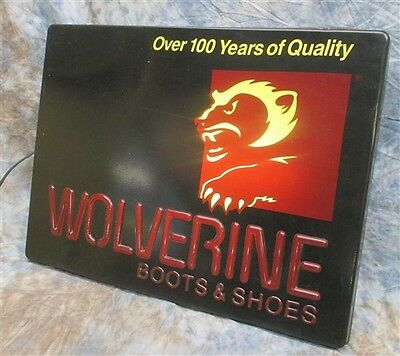 Wolverine Boots Shoes 100 Years Quality Working Lighted Vintage Advertising Sign