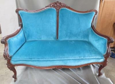 Beautiful Edwardian 3 pc turquoise Formal Sofa Loveseat, Chair & Arm Chair Set