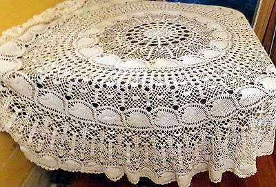 "VINTAGE Antique 86"" CROCHETED LACE TABLECLOTH Pineapple ROUND Crochet"