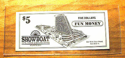 $5. SHOWBOAT CASINO Fun Money - 1987 - ATLANTIC CITY, New Jersey