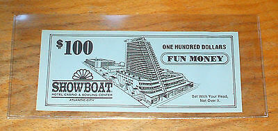 $100. SHOWBOAT CASINO Fun Money - 1987 - ATLANTIC CITY, New Jersey