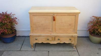 Victorian pine mule chest two short  drawers, decorative stand - refurbished