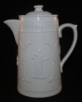 Antique White Jasperware Dudson Brothers Hanley England Coffe Pot Pitcher
