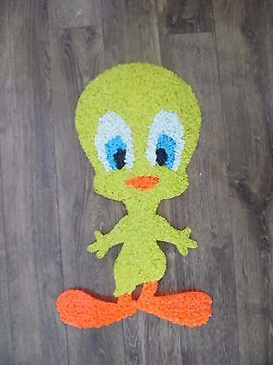 "Vintage Tweety Bird Melted Plastic Popcorn Decoration Wall Hanging 21 by 12"" NIC"