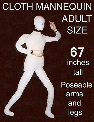 Poseable Bendable Heavy Canvas Display Mannequin Dummy Deluxe Prop Doll DD170724