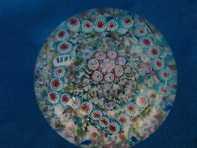 "Vintage Multi-Colored Round Glass Paperweight - ""1885"""