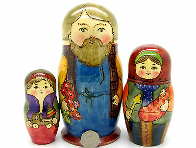 Russian BIG Matryoshka Nesting Doll 3 HAND PAINTED Dad Mum & Baby Son RYABOVA