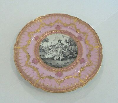 STUNNING 19th C. PARIS FRANCE PORCELAIN PORTRAIT CABINET PLATE, GILDED DECOR.