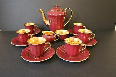Wade Coffee Set Burgundy And Gold Cup Saucer Milk Sugar Coffee Pot Vintage