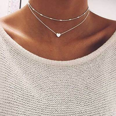 UK Gold Silver Plated Multi-Layer Beaded Chain Choker Necklace Heart Pendant 105