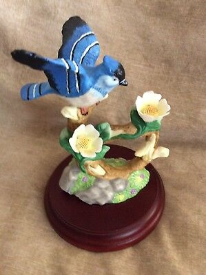 Porcelain Blue Jay On Wooden Base PCH 4 Birds Of Harmony 6 X4 Inch