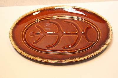 "Hull Brown Drip USA Pottery Oven Proof Steak Meat Platter 14"" Oval Plate"