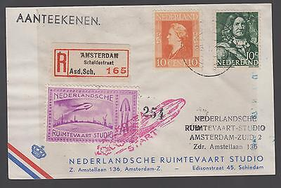 1946 Netherlands Rocket Mail Cover with Cinderella stamp and space ship drawing