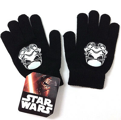 NEW Youth OSFM Boy/Girl/Kid Size STORM TROOPER KNIT GLOVES Black/White Star Wars