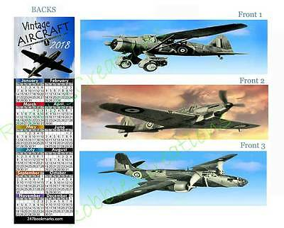 AIRCRAFT 2018 CALENDAR BOOKMARK-3-WWII Vintage Airplanes Fighter Military Bomber