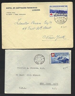 SWITZERLAND U.S. TWO COVERS FRANKE Sc. # 249, 269 BOTH TO NY