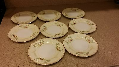 """Vintage Hand Painted MEITO CHINA FLORA PATTERN - 8 PLATES, 6-1/2"""" diameter"""
