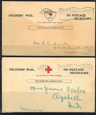 U.s. 1918 American Red Cross Soldier Mail Two Military