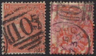 "UK GB 1865-7 SG 94 PLATE II SG 103 PLATE 10 THE 3d HA ""NY PAID ALL"" IN RED F& VF"