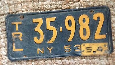 1953 54 New York License Plate Empire Trailer 35-982