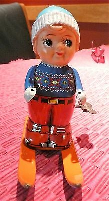 "Vintage Tin Litho Windup  ""girl"" Skier Toy - Japan"