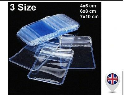 Individual Coin & Badge Holders Clear Plastic Wallets Envelopes Zip Lock