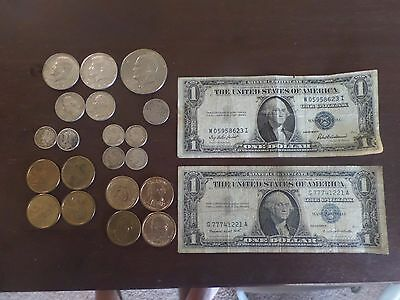 Silver coins and Silver Certificate $1