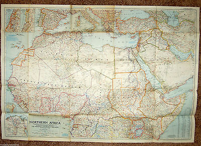 Large Vintage December 1954 National Geographic Map Northern Africa. Colorful!