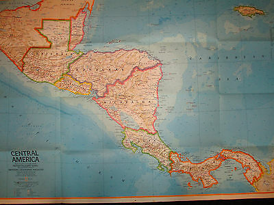 LOT OF 2 Vintage 1973 National Geographic Map of Mexico + Central America 2 side